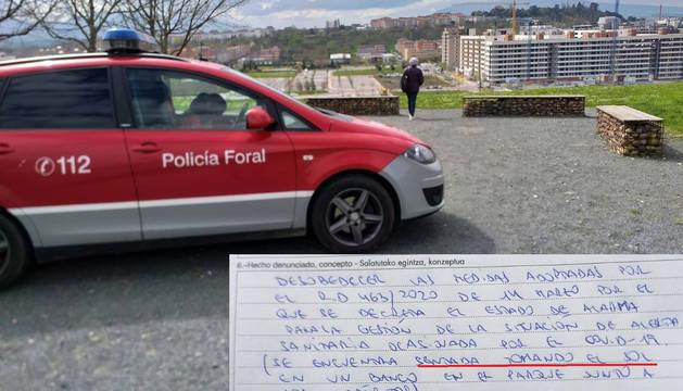 Foto facilitada por la Policía Foral de la denuncia.