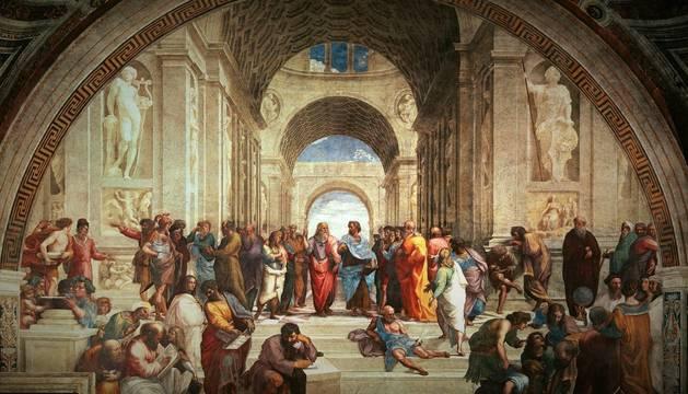 La escuela de Atenas, una de los cuadros más importantes del Alto Renacimiento que pintó el maestro italiano Rafael.