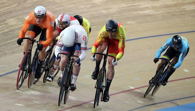 Juan Peralta, a la derecha, en el pasado campeonato del mundo de ciclismo en Berlín.