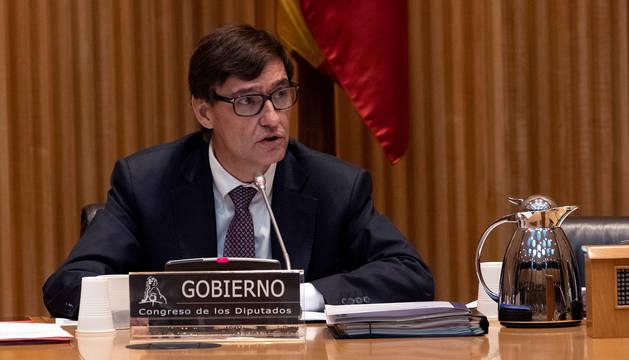 Salvador Illa, ministro de Sanidad, en la comisión de Sanidad del Congreso de los Diputados.