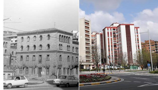 Foto de la avenida Pío XII en 1975 y en 2020.