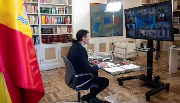 Foto del presidente del Gobierno, Pedro Sánchez, durante la cumbre virtual de líderes del G20.