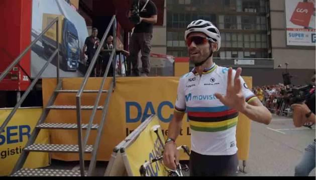 Alejandro Valverde, con el maillot arcoíris.