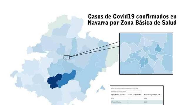 Casos de coronavirus en Navarra por Zonas básicas de Salud.