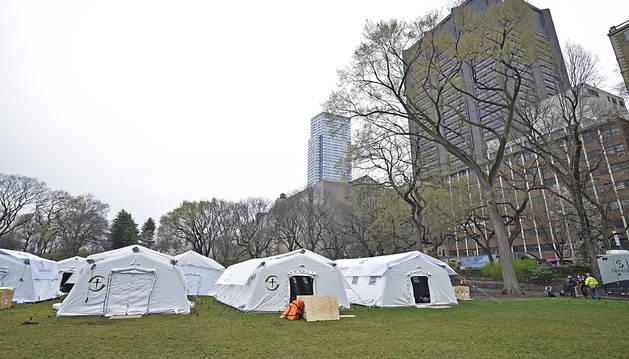 Carpas para hospitales en Central Park.