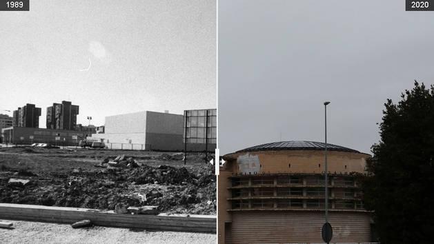foto de Imágenes del centro de salud de Ermitagaña en 1989 y en 2020.