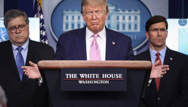 El presidente de Estados Unidos, Donald Trump, en la rueda de prensa de este miércoles.