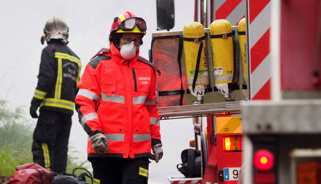 Imagen de archivo de un camión de bomberos en una atención en Galicia.