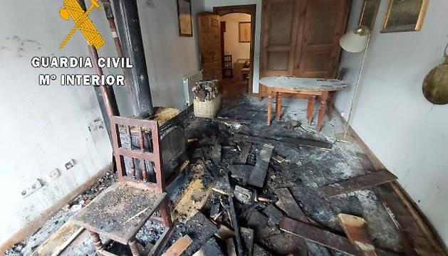 Estado en el que ha quedado la vivienda de Ochagavía.