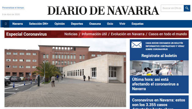 Las visitas a la web de Diario de Navarra han aumentado un 133% con respecto al mismo mes del año anterior.
