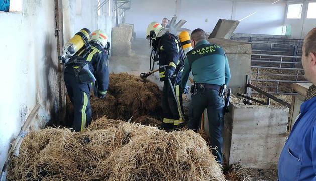 Bomberos y guardia civil colaboran para extinguir el fuego.
