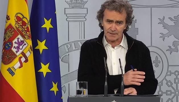 Fernando Simón, en la ruda de prensa de la Moncloa.
