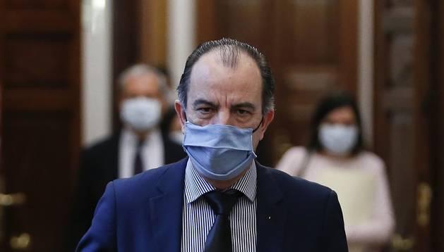 García Adanero, este martes en la reunión de portavoces en el Congreso de Diputados.