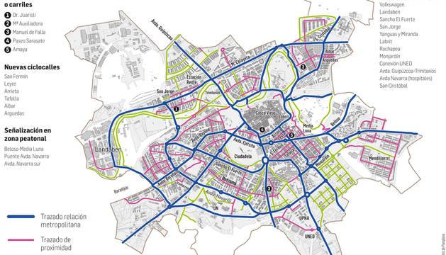 Gráfico de los nuevos carriles bici de Pamplona.