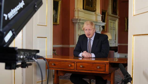 El primer ministro británico, Boris, Johnson, durante el discurso a la nación este domingo, 10 de mayo.