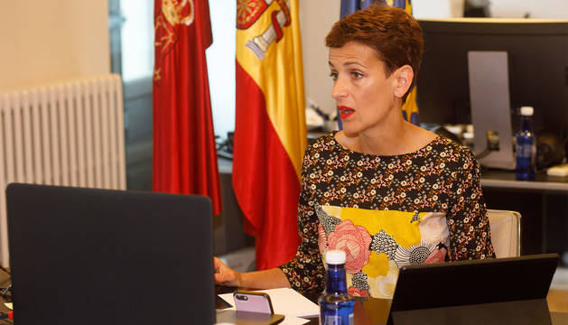 María Chivite, durante la conferencia de presidentes este domingo.