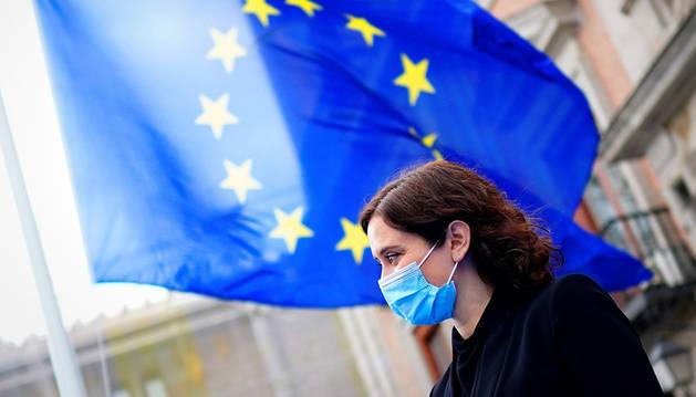 La presidenta de la Comunidad de Madrid, Isabel Díaz Ayuso, durante la conmemoración del Día de Europa este sábado.