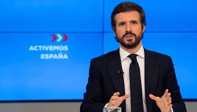 El líder del PP, Pablo Casado, en la rueda de prensa de este martes.