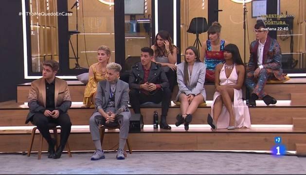 foto de Gèrard, Hugo, Samantha, Bruno, Anajú, Eva, Maialen, Nia y Flavio vuuelven a OT tras la suspensión por el coronavirus