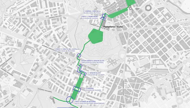 Simulación del corredor en las calles de Pamplona.