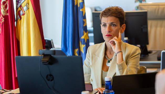 La presidenta Chivite, durante la videoconferencia