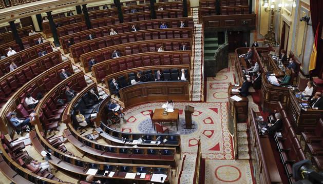 Foto de Pedro Sánchez, durante su intervención en el Congreso, para la aprobación del quinto estado de alarma.