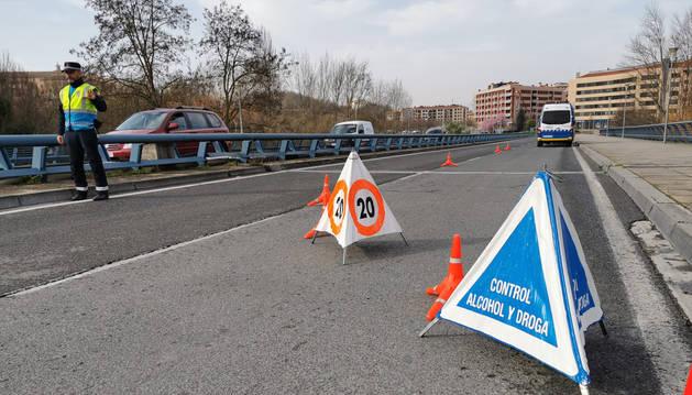 Foto facilitada por la Policía Municipal de Pamplona del control realizado.