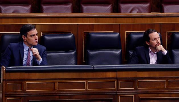 Sánchez e Igleisias, en el Congreso de los Diputados.
