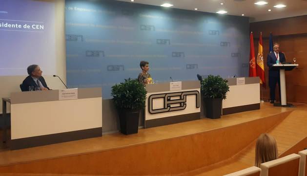 Momento del discurso del nuevo presidente de CEN, Juan Miguel Sucunza.
