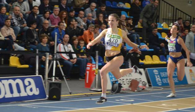 Nerea Bermejo, en el Campeonato de España de Ourense donde firmó su mejor marca en 200m.