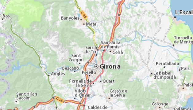 Mapa de la zona de los alrededores de Girona, donde se encuentra la localidad Sarrià de Ter.