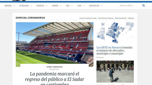 Portada de Diario de Navarra.
