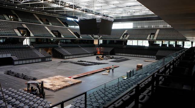 Vista panorámica de la pista central del Navarra Arena la semana de su inauguración.