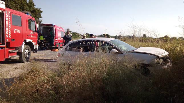 Dos heridos tras un accidente de tráfico en Marcilla
