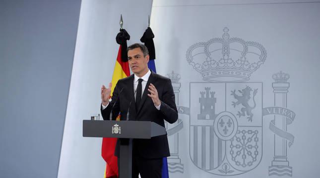 El presidente del Gobierno, Pedro Sánchez, comparece en rueda de prensa tras abordar este domingo con los presidentes autonómicos los avances en la desescalada del confinamiento por el coronavirus.