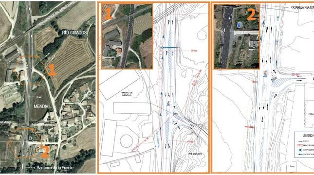 Plano del proyecto para adecuar las paradas de autobús de Mendívil.