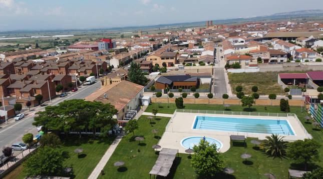Vista general del casco urbano de la localidad ribera de Cadreita.