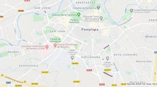 Imagen del mapa con los cortes de tráfico de este martes señalados.