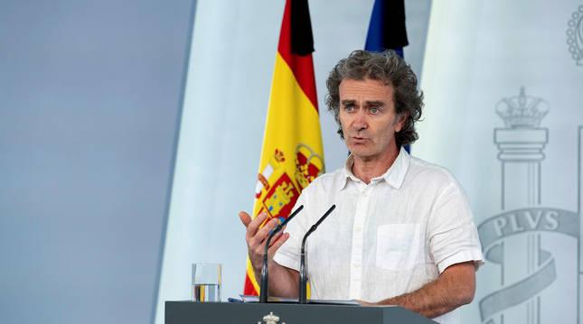 Fernando Simón, durante una rueda de prensa en la Moncloa.