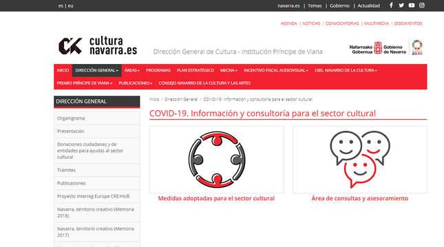 Página web del Gobierno de Navarra con el servicio de asesoría cultural.