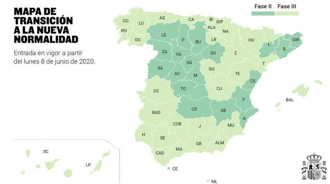 Mapa de las comunidades autónomas que pasan a la fase 3.