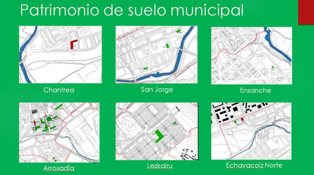 Varias de las parcelas del Ayuntamiento de Pamplona.