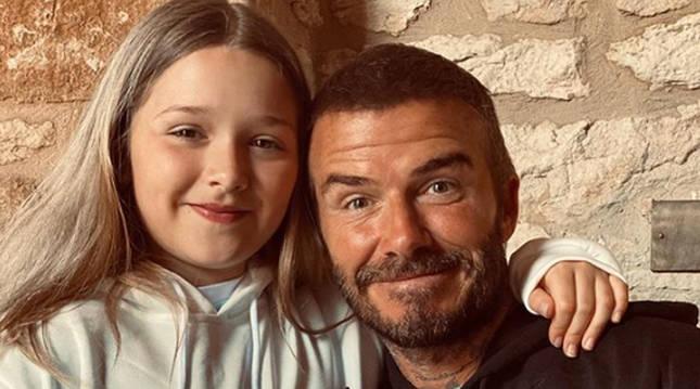 Foto de Beckham con su hija, Harper.