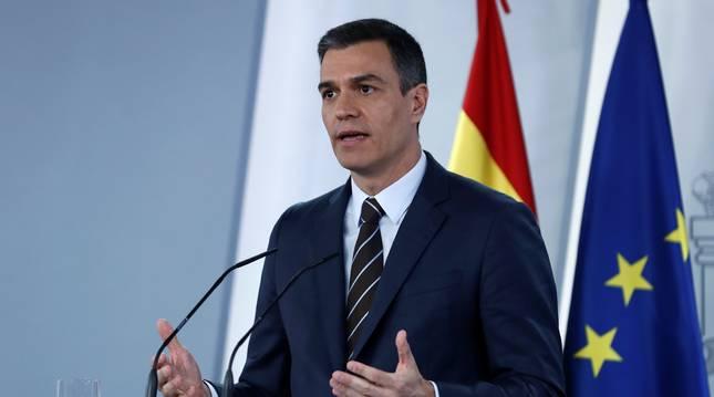 El jefe del Ejecutivo, Pedro Sánchez, durante la rueda de prensa celebrada en el Palacio de la Moncloa,