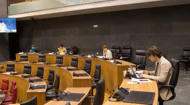 Foto de una sesión en el Parlamento de Navarra.