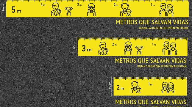 Cartel de la campaña 'Metros que salvan vidas'.