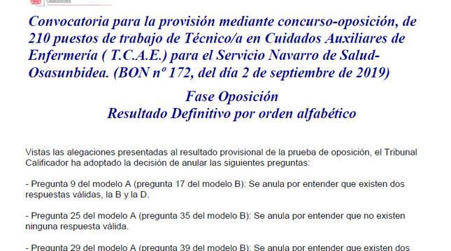 Publicadas las listas definitivas de la fase de oposición de técnico de auxiliar de enfermería