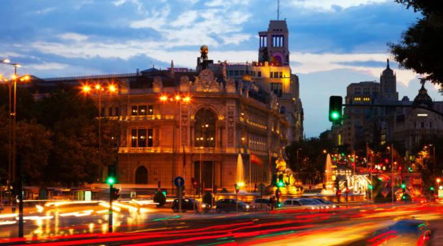 Vista panorámica de la plaza de Cibeles de Madrid