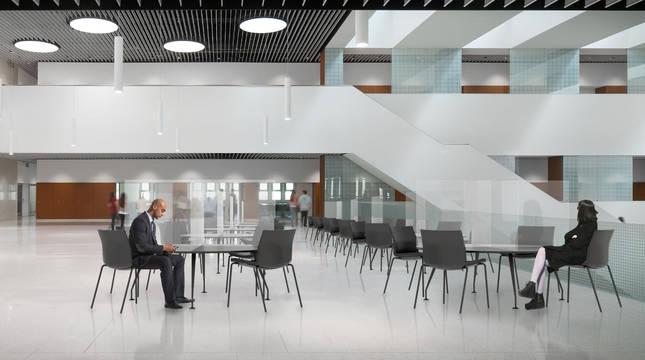 Reproducción virtual de los nuevos espacios de trabajo que se podrán habilitar en el edificio Amigos de la Universidad de Navarra.