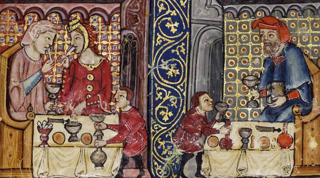 Ilustración de la hagadá Rylands (Cataluña, s. XIV). Biblioteca de la Universidad de Mánchester